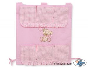 Cot tidy- Teddy Bear with bow pink