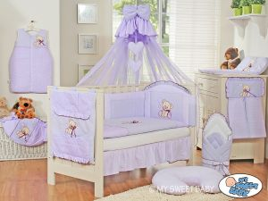 Bedding set 5-pcs z mosquito-net- Teddy Bear with bow lilac