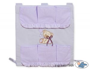 Cot tidy- Teddy Bear with bow lilac
