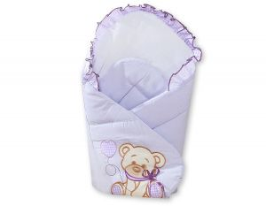 Baby nest with stiffening- Bear with bow lilac