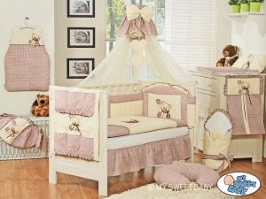 Bedding set 5-pcs z mosquito-net- Teddy Bear with bow brown