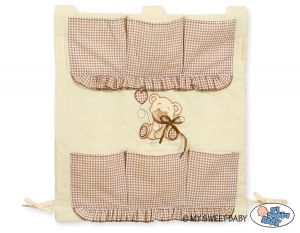 Cot tidy- Teddy Bear with bow brown
