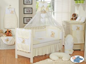 Bedding set 11-pcs z mosquito-net- Teddy Bear with bow white