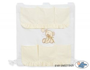 Cot tidy- Teddy Bear with bow white