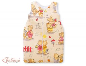 Sleeping bag- Basic Teddies on beige