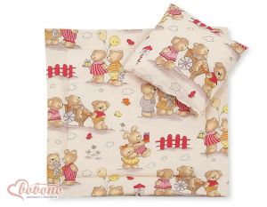 Baby pram set 2pcs- Basic Teddies on beige