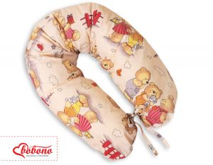 Pregnancy pillow- Longer- Teddies on beige