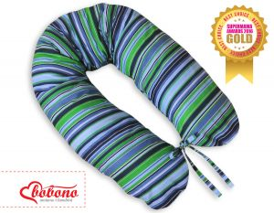 Pregnancy pillow - Longer- Dark blue strips