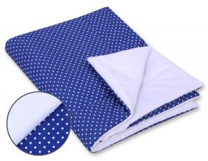 Double-sided blanket minky- Navy blue with white polka dots