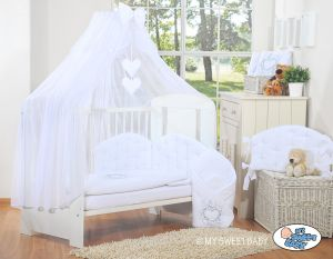 Bedding set 5-pcs with mosquito-net- Chic white