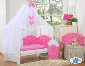 Bedding set 5-pcs with mosquito-net- Chic dark pink
