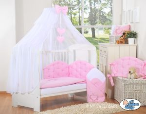 Bedding set 5-pcs with mosquito-net- Chic light pink
