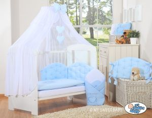 Bedding set 5-pcs with mosquito-net- Chic blue