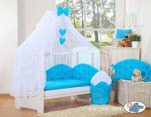 Bedding set 5-pcs with mosquito-net- Chic turquoise