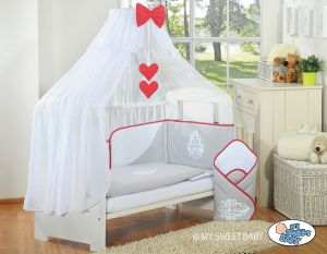 Bedding set 5-pcs with mosquito-net- Glamour grey-red