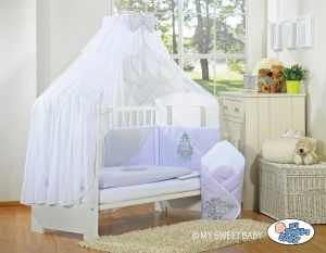 Bedding set 5-pcs with mosquito-net- Glamour grey-lilac