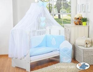 Bedding set 5-pcs with mosquito-net- Glamour blue-white
