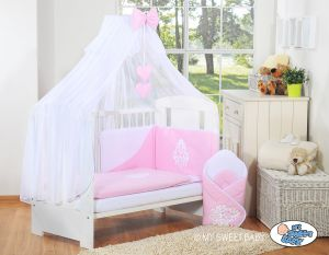 Bedding set 5-pcs with mosquito-net- Glamour pink-white