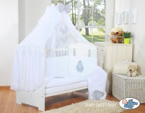Bedding set 5-pcs with mosquito-net- Glamour white