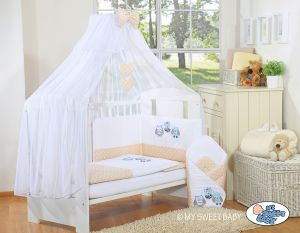 Bedding set 5-pcs with mosquito-net- Owls Bigi Zibi & Adele beige