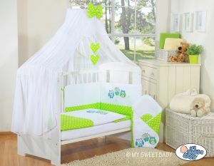 Bedding set 5-pcs with mosquito-net- Owls Bigi Zibi & Adele green