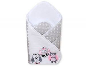 Baby nest with stiffenig- Owls Bigi Zibi & Adele grey-pink