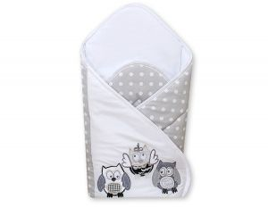 Baby nest with stiffenig- Owls Bigi Zibi & Adele grey-black