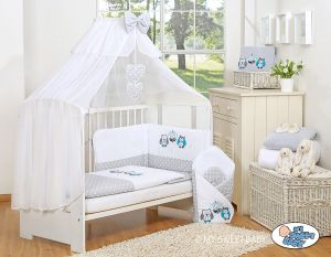 Bedding set 5-pcs with mosquito-net- Owls Bigi Zibi & Adele -grey-turquoise