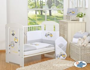 Bedding set 3-pcs- Owls Bigi Zibi & Adele grey-yellow