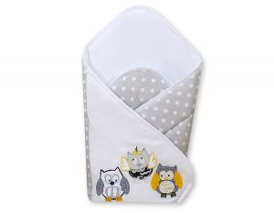 Baby nest with stiffenig- Owls Bigi Zibi & Adele grey-yellow