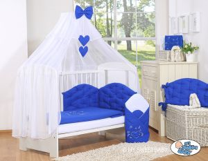 Bedding set 5-pcs with mosquito-net- Chic navy blue