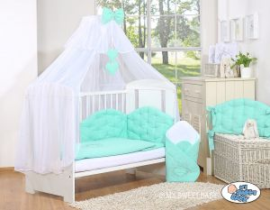 Bedding set 5-pcs with mosquito-net- Chic mint