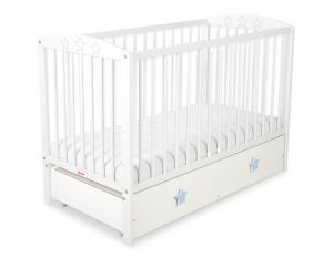 Baby cot 120x60cm with stars no. 5002-07-07- white with drawer MAXI