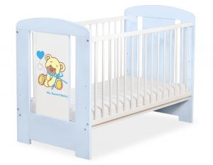 Baby cot 120x60cm Tedy Bear with bow blue no. 5004-03-323
