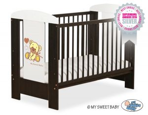 Baby cot 120x60cm Tedy Bear with bow white no. 5004-04-327