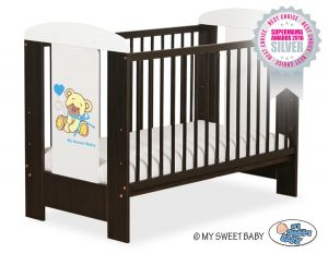 Baby cot 120x60cm Tedy Bear with bow blue no. 5004-04-323