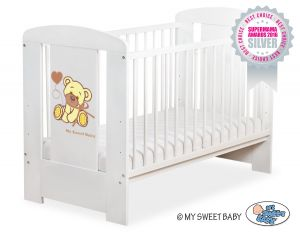 Baby cot 120x60cm Tedy Bear with bow white no. 5004-07-327