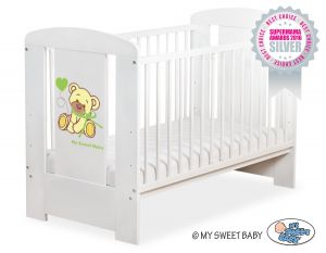Baby cot 120x60cm Tedy Bear with bow green no. 5004-07-322
