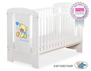 Baby cot 120x60cm Tedy Bear with bow blue no. 5004-07-323