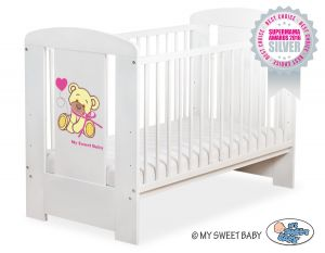 Baby cot 120x60cm Tedy Bear with bow pink no. 5004-07-324
