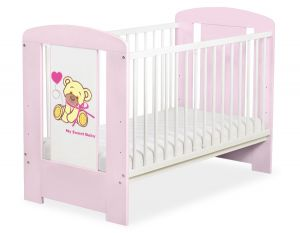 Baby cot 120x60cm Tedy Bear with bow pink no. 5004-08-324
