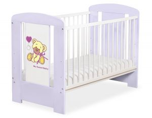 Baby cot 120x60cm Tedy Bear with bow lilac no. 5004-09-325