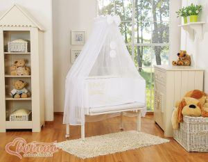 Sets: Bedside cot + mattress+ bedding- Little Prince/Princess white