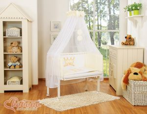 Bedding set 6pcs for bedside cot FABIO- Little Prince/Princess cream