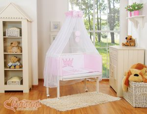 Bedding set 6pcs for bedside cot FABIO- Little Prince/Princess pink
