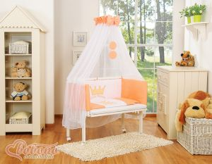 Bedding set 6pcs for bedside cot FABIO- Little Prince/Princess peach