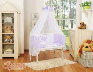Bedding set 6pcs for bedside cot FABIO- Little Prince/Princess lilac