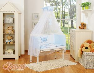 Bedding set 6pcs for bedside cot FABIO- Little Prince/Princess blue