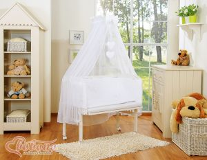 Bedding set 6pcs for bedside cot FABIO- Hanging hearts white