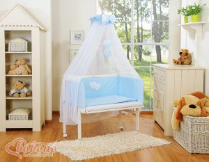 Bedding set 6pcs for bedside cot FABIO- Hanging hearts blue